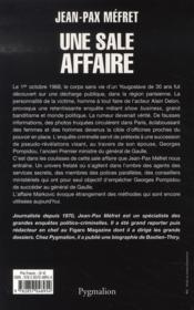 Une sale affaire ; markovic, marcantoni, delon, pompidou et les autres - 4ème de couverture - Format classique