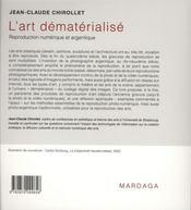 Art dématérialisé ; reproduction des Arts en photo et vidéo - 4ème de couverture - Format classique