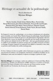 Héritage et actualité de la polémologie - 4ème de couverture - Format classique