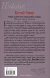 Cousu de fil rouge ; voyage des intellectuels français en Union soviétique - 4ème de couverture - Format classique
