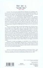 Vichy dans la solution finale - 4ème de couverture - Format classique