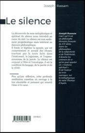 Le silence ; un chemin vers Dieu - 4ème de couverture - Format classique