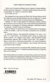 Sarkozy et Dieu ; de l'usage politique des monothéismes - 4ème de couverture - Format classique