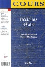 Procedures Fiscales (4e Edition) - 4ème de couverture - Format classique