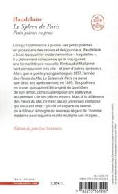 Le spleen de Paris ; petits poèmes en prose - 4ème de couverture - Format classique