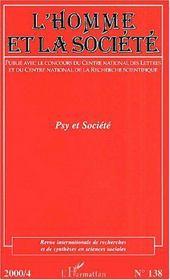 Revue Internationale De Recherches Et De Syntheses En Sciences Sociales N.138 ; Psy Et Société - Couverture - Format classique
