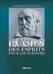 Examen Des Esprits Pour Les Sciences - Couverture - Format classique
