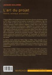 L'art du projet ; histoire, technique, architecture - 4ème de couverture - Format classique