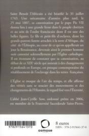 Saint Benoît l'africain franciscain - 4ème de couverture - Format classique