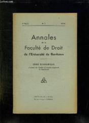 Annales De La Faculte De Droit De L Universite De Bordeaux N° 1 1954. Serie Economique. - Couverture - Format classique