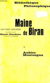 Maine De Biran, Oeuvres Choisies - Couverture - Format classique