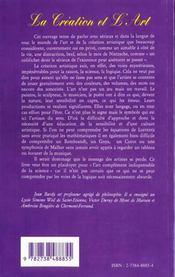 La Creation Et L'Art ; Chemins Vers La Creation - 4ème de couverture - Format classique