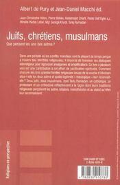 Juifs, chretiens, musulmans - 4ème de couverture - Format classique