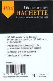 Mini Dictionnaire Hachette - 4ème de couverture - Format classique