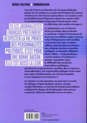 Le contact et la distance ; le journalisme politique au risque de la connivence - 4ème de couverture - Format classique