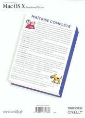 Mac Os X Maitrise Complete 3e Edition - 4ème de couverture - Format classique