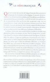Le défi français ; regards croisés sur la France et le Québec - 4ème de couverture - Format classique