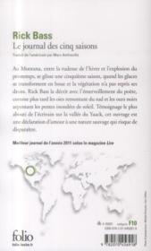 Le journal des cinq saisons - 4ème de couverture - Format classique