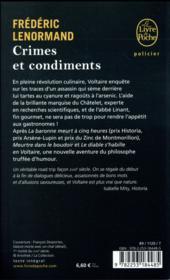 Crimes et condiments - 4ème de couverture - Format classique