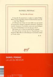 La loi du rêveur - 4ème de couverture - Format classique