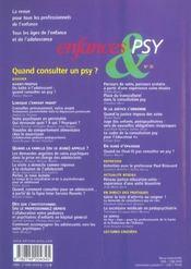 Enfances Et Psy N.30 ; Quand Consulter Un Psy ? - 4ème de couverture - Format classique