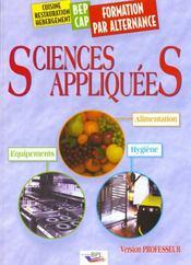 Sciences Appliquees A L'Alimentation Aux Equipements Et A L'Hygiene Bep-Cap Alternance Professeur - Intérieur - Format classique