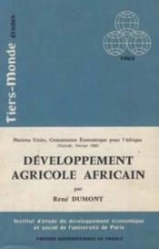 Developpement agricole africain - Couverture - Format classique