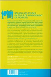 Réussir ses études en école de management en français - 4ème de couverture - Format classique