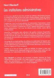 Les Institutions Administratives - 4ème de couverture - Format classique