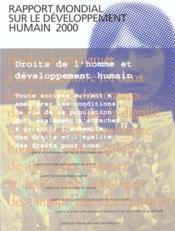 Rapport mondial sur le dev. humain 2000 droits de l'homme et developpt humain - Couverture - Format classique