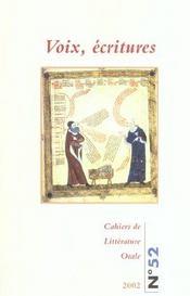 Cahiers De Litterature Orale T.52 ; Voix, Ecritures ; 2002 - Intérieur - Format classique