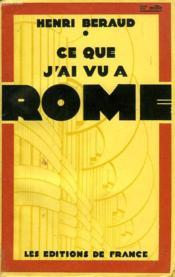 Ce Que J'Ai Vu A Rome - Couverture - Format classique