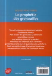 La prophétie des grenouilles - 4ème de couverture - Format classique