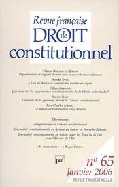 REVUE FRANCAISE DE DROIT CONSTITUTIONNEL N.65 ; départements et régions d'Outre-mer et accords internationaux - Intérieur - Format classique