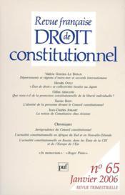 REVUE FRANCAISE DE DROIT CONSTITUTIONNEL N.65 ; départements et régions d'Outre-mer et accords internationaux - Couverture - Format classique
