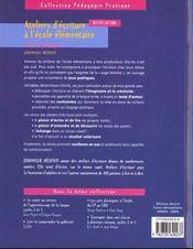 Ateliers d'écriture à l'école élémentaire ; du CE1 au CM2 ; 60 jeux poétiques - 4ème de couverture - Format classique