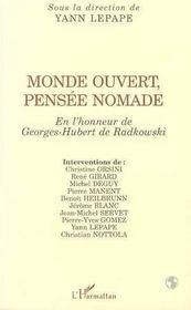 Monde Ouvert, Pensee Nomade ; En L'Honneur De Georges-Hubert De Radkowski - Intérieur - Format classique