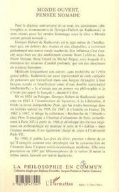 Monde Ouvert, Pensee Nomade ; En L'Honneur De Georges-Hubert De Radkowski - 4ème de couverture - Format classique