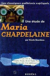 Une Etude De.Maria Chapdelaine - Couverture - Format classique