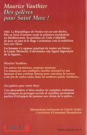 Des galeres pour saint marc - 4ème de couverture - Format classique