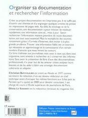 Organiser Sa Documentation Et Rechercher L'Information (4e Ed) (4e édition) - 4ème de couverture - Format classique