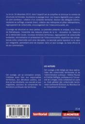 La réforme des collectivités territoriales commentée ; impacts de la loi n°2010-1563 du 16 décembre 2010 - 4ème de couverture - Format classique