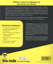 Windows 10 et internet pour les nuls (5e édition) - 4ème de couverture - Format classique