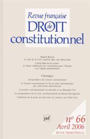 Revue Francaise De Droit Constitutionnel N.66 - Couverture - Format classique