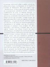 The tragedy of coriolanus ; william shakespeare - 4ème de couverture - Format classique