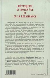 Metriques Du Moyen Age Et De La Renaissance - 4ème de couverture - Format classique