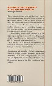 Histoires extraordinaires du boudhisme tibétain - 4ème de couverture - Format classique