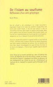 De l'islam au soufisme ; réflexions d'un ami gnostique - 4ème de couverture - Format classique