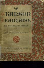 LA CHANSON FRANCAISE DU XVeAU XXe SIECLE. - Couverture - Format classique