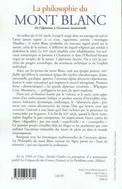 La philosophie du Mont Blanc - 4ème de couverture - Format classique